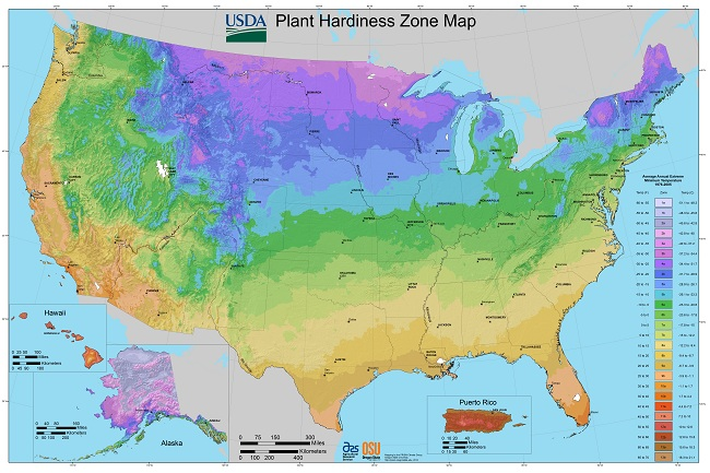 Hardiness map planting zones